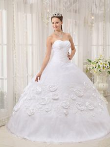 White Quinceanera Dress with Sweetheart Neckline and Rolling Flowers
