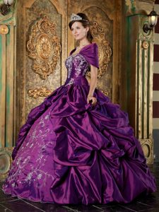 Purple Taffeta Quinceanera Dress with Embroidery and Pick-up Skirt