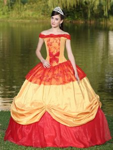 Red and Gold Quinceanera Dress with Off the Shoulder Neckline for 2013