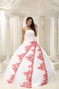 White Sweet 16 Dresses by Taffeta and Organza with Red Appliques