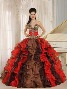 Multi-color Quinceanera Dress with V-neck and Ruffles by Leopard Print Fabric