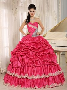 Hot Pink Sweet Sixteen Quinceanera Dresses with Appliques and Pick-ups