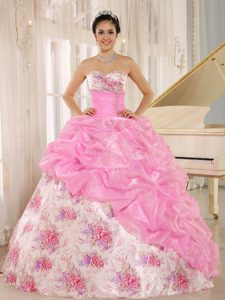 Sweetheart Quinceanera Gown with Pick-ups by Print Fabric with Rose
