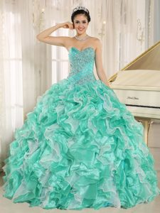 Apple Green and White Quinceanera Dress with Beaded Bodice and Ruffles