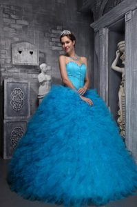 Aqua Blue Quinceanera Dress with Sweetheart Neckline and Ruffles