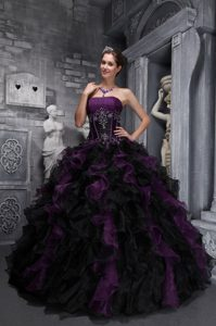 Dark Purple and Black Quinceanera Dress with Boning Details and Ruffles