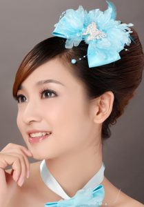Beautiful Aqua Blue Taffeta and Organza Beading Feather Fascinators