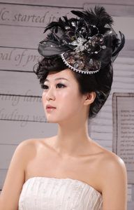 Special Hat Hairpin Feather Tulle Black Outdoor and Wedding