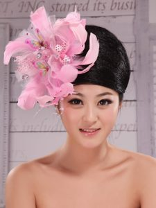 Imitation Pearls and Feather Decorate Tulle and Printing Fabric Headpices For Speciral Occasion Party