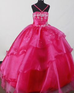 Beaded Fuchsia Organza Straps Little Girl Pageant Dresses in Alabama