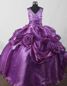 New Purple Beading Little Girl Pageant Dresses With Hand Made Flowers