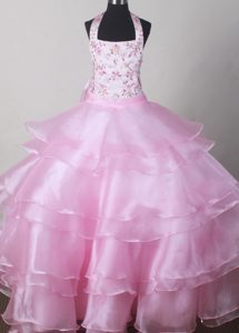 Beautiful Alaska Halter Top Little Girl Pageant Dresses With Embroidery