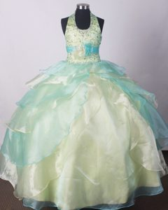 Yellow Green Ball Gown Little Girl Pageant Dresses With Beading Flower