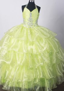Ohio Yellow Green Kid Pageant Dresses With Beading and Ruffled Layers