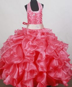 Beading and Ruffles Ball Gown Halter Top Little Girl Pageant Dress