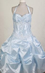 Pretty Ball Gown Halter Top Little Girl Pageant Dress With Pick-ups