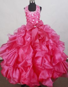 Halter Flower Girl Pageant Dress With Beading and Ruffled Layers