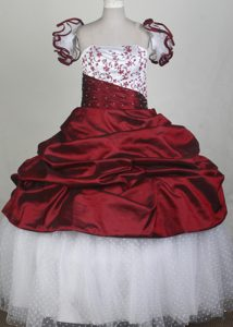 White and Red Flower Girl Pageant Dress With Embroidery and beading