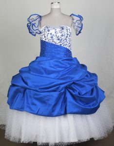 2013 Custom Made Embroidery Blue and White Flower Girl Pageant Dress