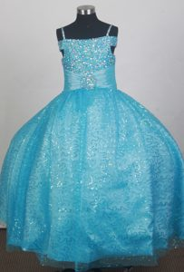 Light Blue Sequin Flower Girl Dress With Spaghetti Straps Beading