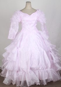 Baby Pink Long Sleeves and Ruffled Layers Flower Girl Pageant Dress