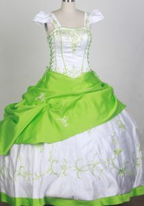 Square Neckline White and Spring Green Embroidery Kid Pageant Dress