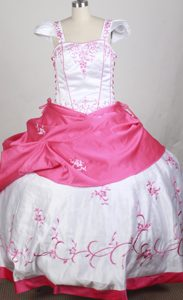 White and Hot Pink Cap Sleeves Embroidered Kid Pageant Dresses