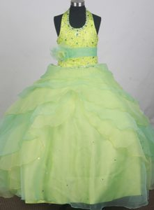 Sequins and Beading Decorate Halter Flower Girl Pageant Dress