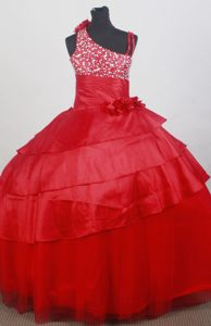 Asymmetrical Red Beading and Flowers Decorate Flower Girl Dress