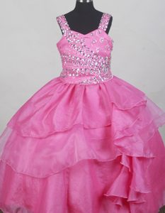 Hot Pink Straps Beaded Decorate Bodice Flower Girl Pageant Dress