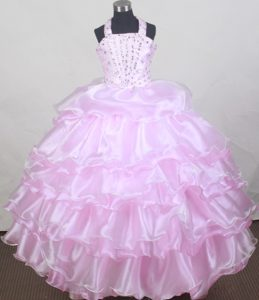 Baby Pink Flower Girl Pageant Dress With Beading and Ruffled Layers