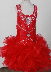 Red Pretty Scoop Neckline Beaded Decorate Little Girl Pageant Dress