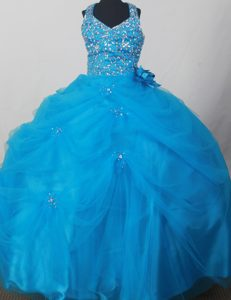Blue Halter Flower Girl Pageant Dress With Beading and Flowers