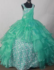 Appliques and Ruche Decorate Flower Girl Pageant Dress in Turquoise