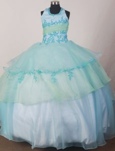 Apple Green and Light Blue Halter Glitz Pageant Dresses Appliques Accent