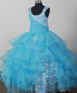 Montana Light Blue Scoop Flower Girl Pageant Dress with Ruffle Layers