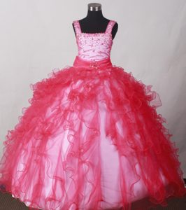 Straps Beading Ruffles for Organza Little Girl Pageant Dresses in Red