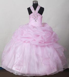 Baby Pink Beading and Pick-ups Little Girl Pageant Dresses V-neck Design