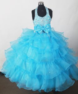 Glitz Pageant Dresses in Aqua Blue with Bowknot and Ruffled Layers