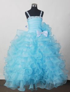 Aqua Blue Little Girl Pageant Dresses with Beading Bow and Ruffles