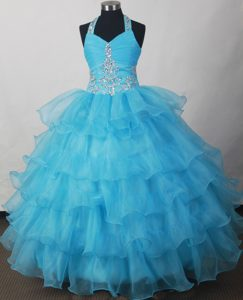 Halter Beading And Ruffled Layers for 2013 Little Girl Pageant Gowns