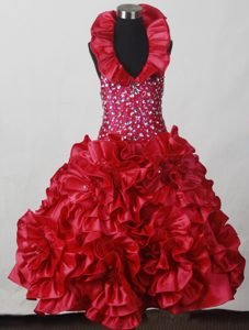 Flowers and Beading Accent Red Little Girl Pageant Dress with Halter