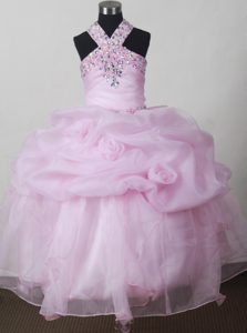 Baby Pink Beading and Pick-ups Accent Pageant Dresses for Little Girls