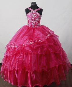 2013 Little Girl Pageant Dresses in Hot pink with V-neck and Beading