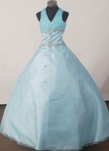 Ohio Brand New Halter Beaded Little Girl Pageant Dress in Light Blue