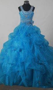 Baby Blue Beading Pick-ups Little Girl Pageant Dress Scoop Neckline