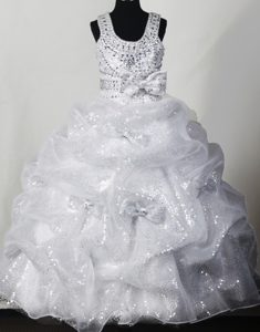 Scoop Beading and Sequin Little Girl Pageant Dress with Bowknot
