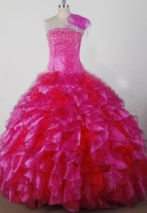 Michigan Feathered One Shoulder Ruffles Pageant Dress for Girls