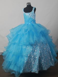 2013 Aqua Blue Scoop Pageant Dresses for Little Girls in Maryland