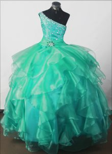 One-shoulder Green Beading Little Girl Pageant Dress in Maine